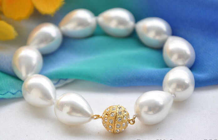 shippingZ5579 LUSTER 8 14x18mm white drip SOUTH SEA SHELL PEARL bracelet<br><br>Aliexpress