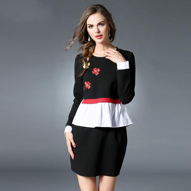 Женщины Плюс Размер Одежды Тонкий Встроенная Длинным Рукавом Цвет Блока Образует Баски Топ и Мини-Юбка Набор Из Двух Частей xl-5xl