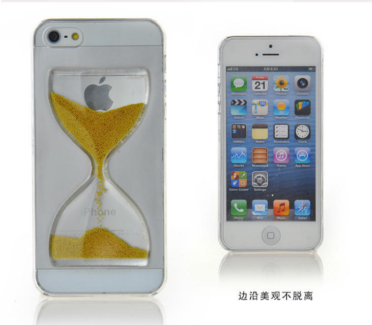 Liquid Crystal Clear Sand Clock Sand Glass Transparent Flowing Hourglass Pattern Back Cover Phone Case for iPhone5 5S 4 4S(China (Mainland))