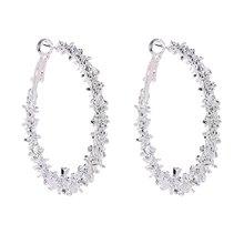 Elegant Jewelry Colorful Charm Austrian Crystal Hoop Earrings Geometric Round Shiny Rhinestone Big Circle Earring Bijoux(China)