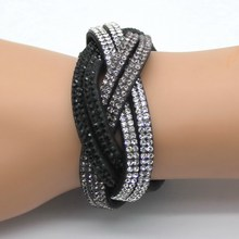 2016 New Fashion women's charm Distortion bracelets European rhinestone Leather snake Chain bracelets 2 laps pulsera !(China (Mainland))
