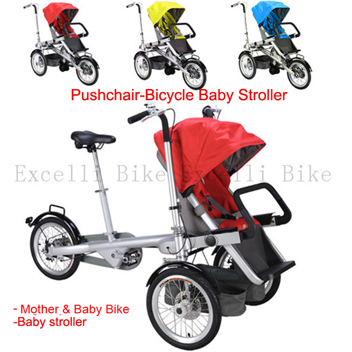 Folding 3 Wheels Bicycle 16inch Mother Baby Stroller Bike Carrier Bicycle Carrinho Aluminium Alloy baby car baby stroller 3 in1(China (Mainland))