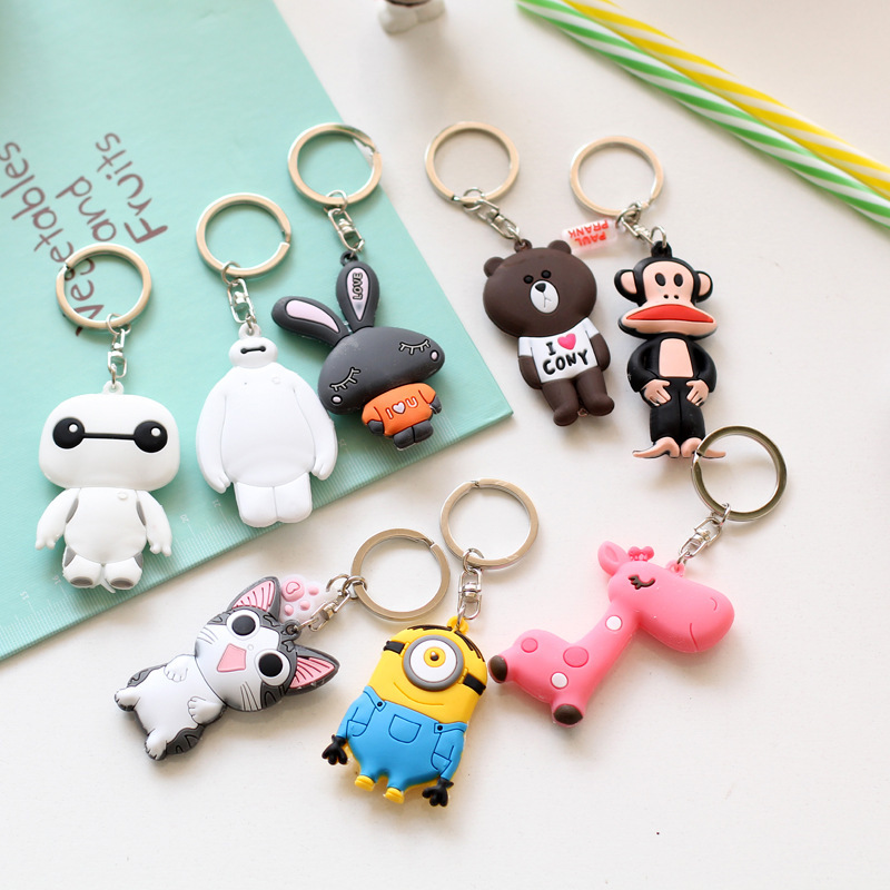 1pcs Cartoon Keychain PVC Metal Ring Action Figure Toy Minions Baymax Fox Giraffe Hello Kitty Key Chain Pendant Creative Gifts(China (Mainland))