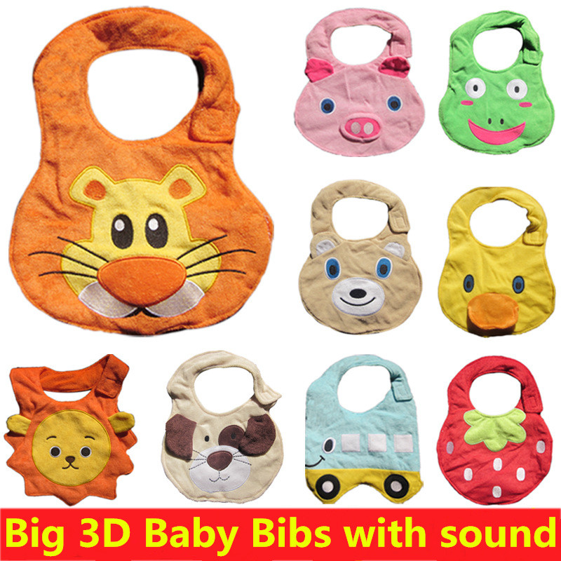 [Little Rain] 2016 New Big Size 3D Baby Bibs with sound Burp Cloths Waterpoor Bib Clothing Feeding Saliva Towel Bibs For Babies<br><br>Aliexpress