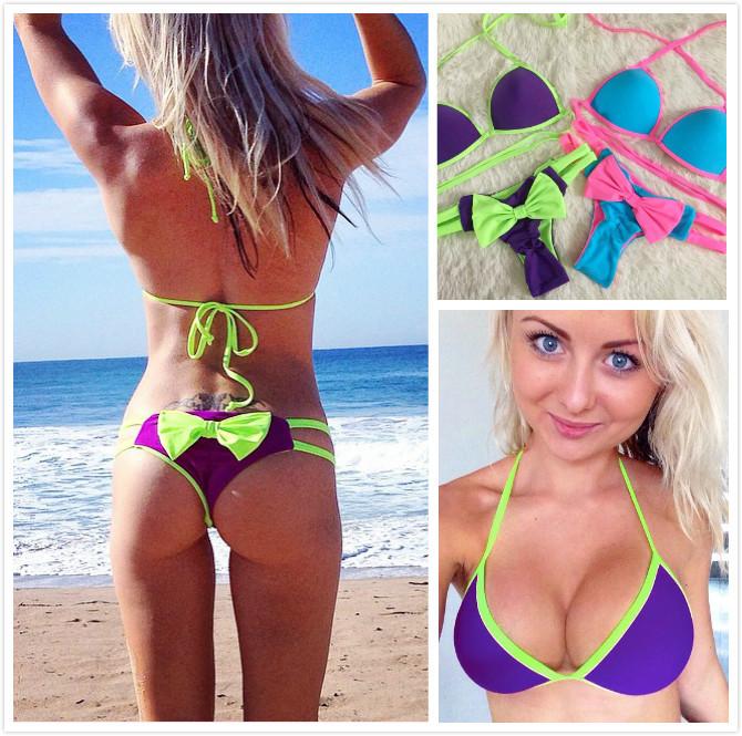 2015 summer New Sexy Style swimwear women Beach push up micro triangl Bow tie Bikini biquini brazilian bathing suits swimming(China (Mainland))