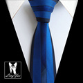 2017 New Luxury Mens Tie Top Quality Woven Handmade Necktie Royal Blue with Black Border Stripes