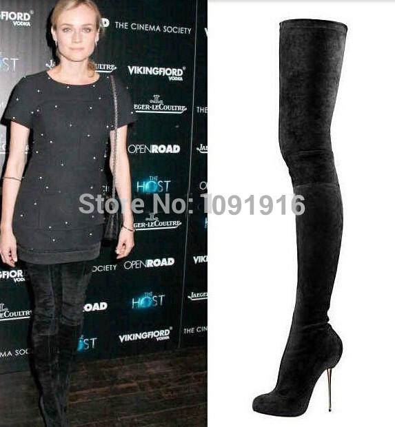 2014 noir en daim femmes bottes dessus du genou, Métal haute talons chaussures femmes cuissardes