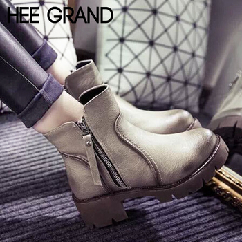 New Winter Ankle Boots Warm British Fashion Platform PU Motorcycle Ankle Martin Boots Woman Shoes 3 Colors XWX1964