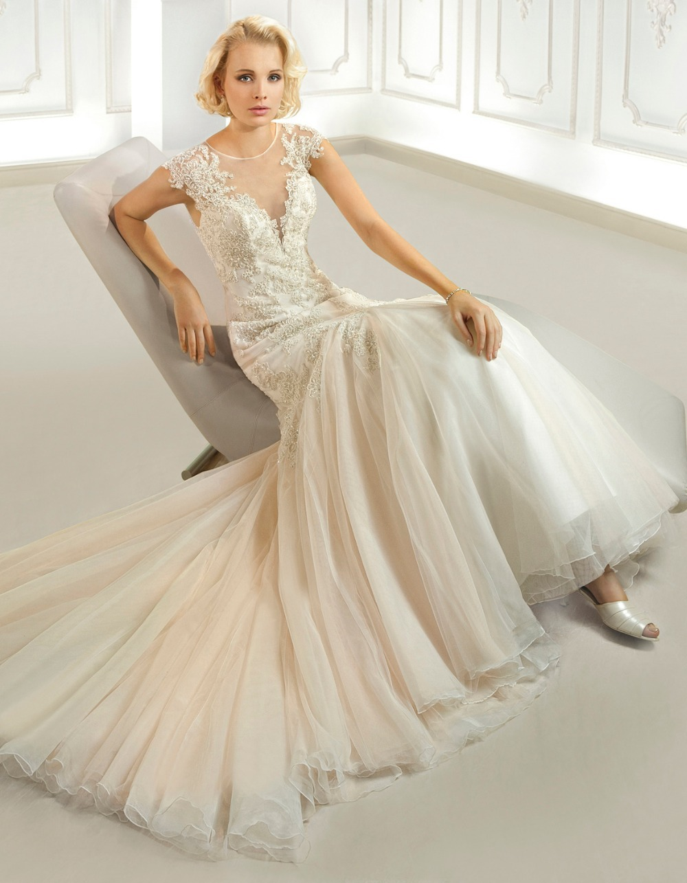 Famous fit and flare bridal gown floor length sheer for Sweetheart neckline fit and flare wedding dress