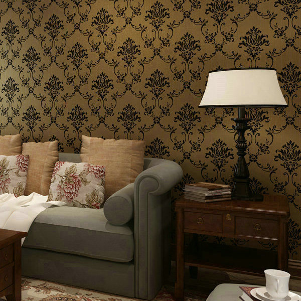 3d waterproof living room wallpaper European Luxury wallpaper Vintage Floral Wall Paper Foil Wallpaper Fast Delivery(China (Mainland))