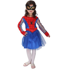 7 Sets/lot Free Shipping Masquerade Party Fancy Dress Carnival Halloween Cosplay Show Clothes Kids Girls Spider Girl Costumes