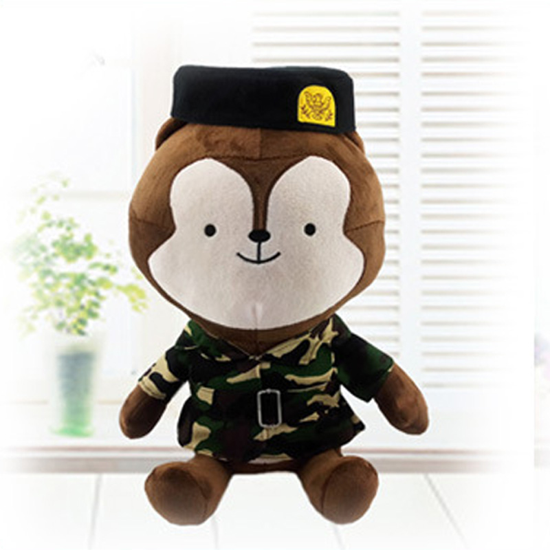 Big size 50cm The Descendants of the Sun doll Wolf king Plush Toys The Rabbit stuffed Dolls wear Camouflage Gifts free shipping(China (Mainland))
