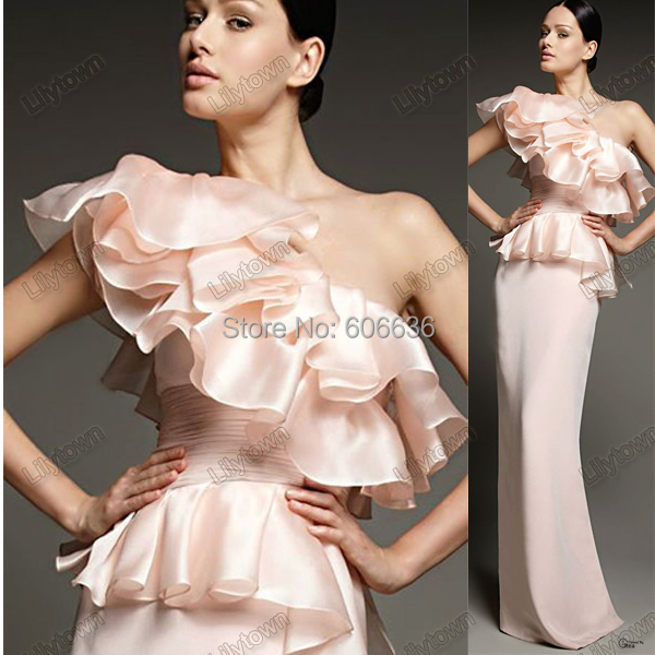 sale Custom Made Vestidos Sheath One Shoulder Ruffles Organza Floor Length Winter Dress Evening Dresses Pink - Lilytown's Wedding Store store