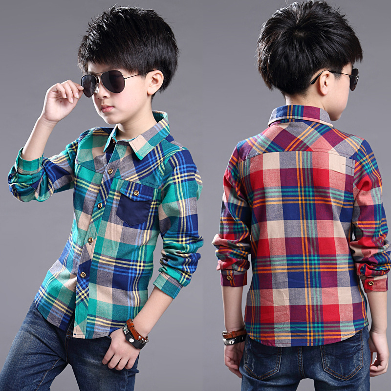2016 Spring Autumn Boys font b Plaid b font Shirts Children s Clothing 100 150cm Height