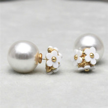 2015 new hot design fashion brand jewelry Flowers stud earring double Imitation pearls style Statement earring for women(China (Mainland))