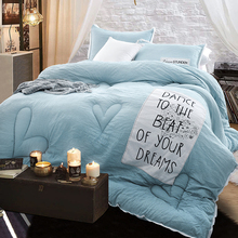 Fresh Solid Stitching Winter Comforter Queen/King size 3pcs quilting comforter+pillow cases polyester fabric soft quilting quilt(China (Mainland))