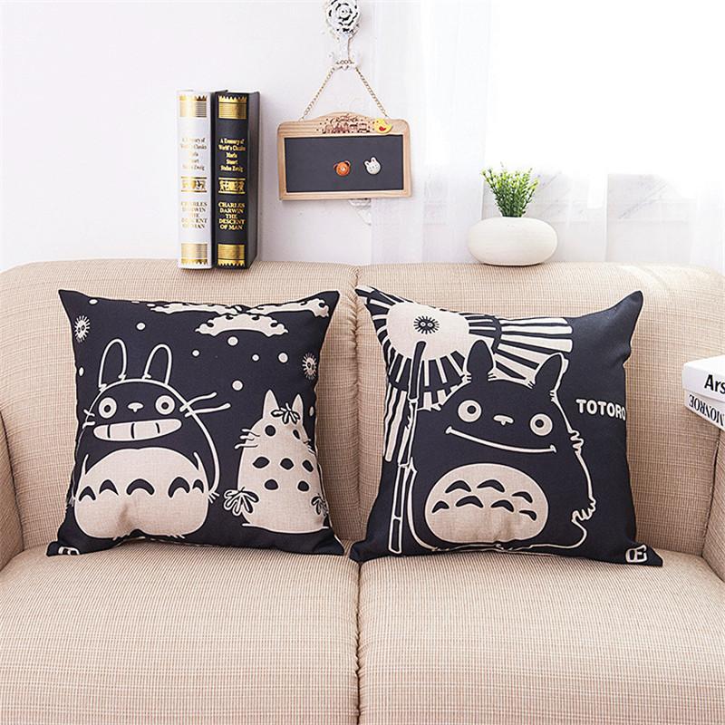 Cute character Totoro galesaur Cotton Linen decorative cushion cover Sofa Throw Pillow Cover Chair Car Home