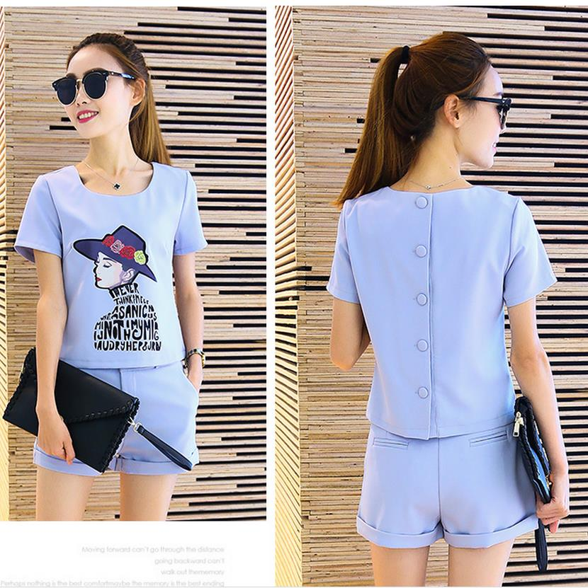 Beautiful! Good 2 Piece Set Women Shorts And Top Short Sleeved Summer Leisure Slim Ladies O-neck Buttons 2016 Formal Women Suits(China (Mainland))