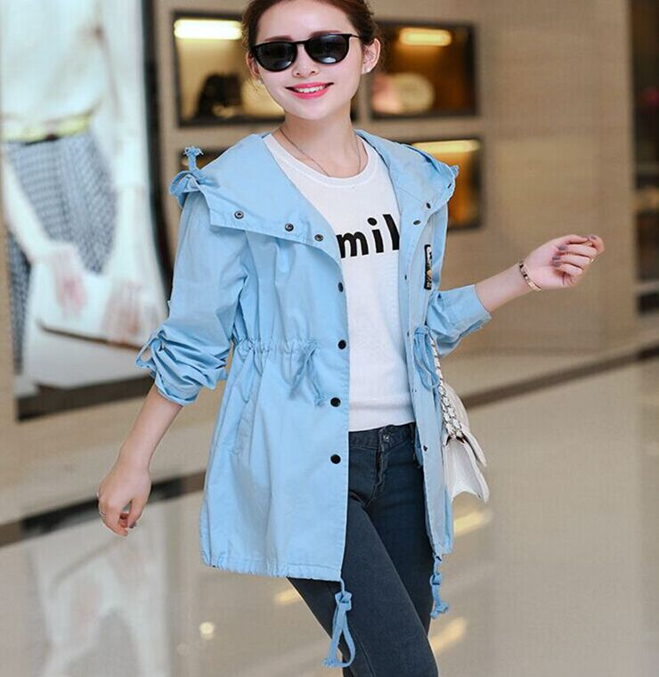2015 New Arrival Women's Spring Autumn Long Sleeve Blue Khaki Red Casual Hooded Trench Coat(China (Mainland))