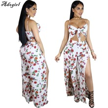 Buy Adogirl 2017 Summer Loose Two Piece Set Women Lace Crop Top Bangdage Sexy Plus Size Womens Suspenders Chiffon Pant Sets for $15.49 in AliExpress store