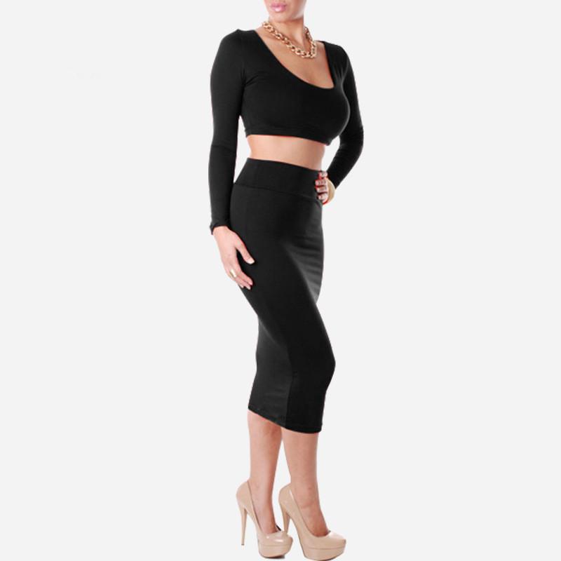 size4XL 2015 Style 2 Piece Bandage Bodycon Dress Celebrity Long Sleeve Sexy Club dresses White Black 7 colors - BALALA ONLINE SHOP store