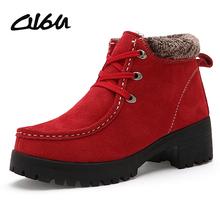 O16u botas nieve de las mujeres zapatos de la plataforma del cuero genuino antideslizante de goma de las señoras botines de cuña de piel de felpa negro zapatos de invierno(China (Mainland))