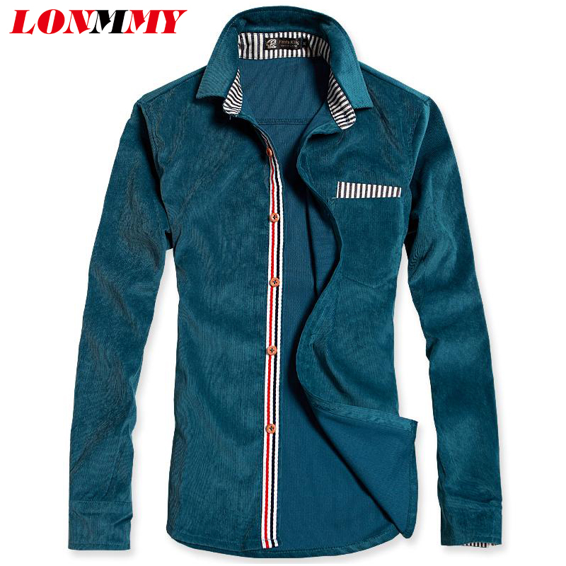 LONMMY M-3XL men shirt striped camisa masculina Corduroy imported clothing Long-sleeve - store