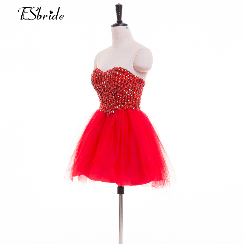 In stock Sexy Cocktail Dresses 2017 Evening Party Short Mini Prom Gowns Crystal Beaded Sweetheart Ball Gown Homecoming(China (Mainland))