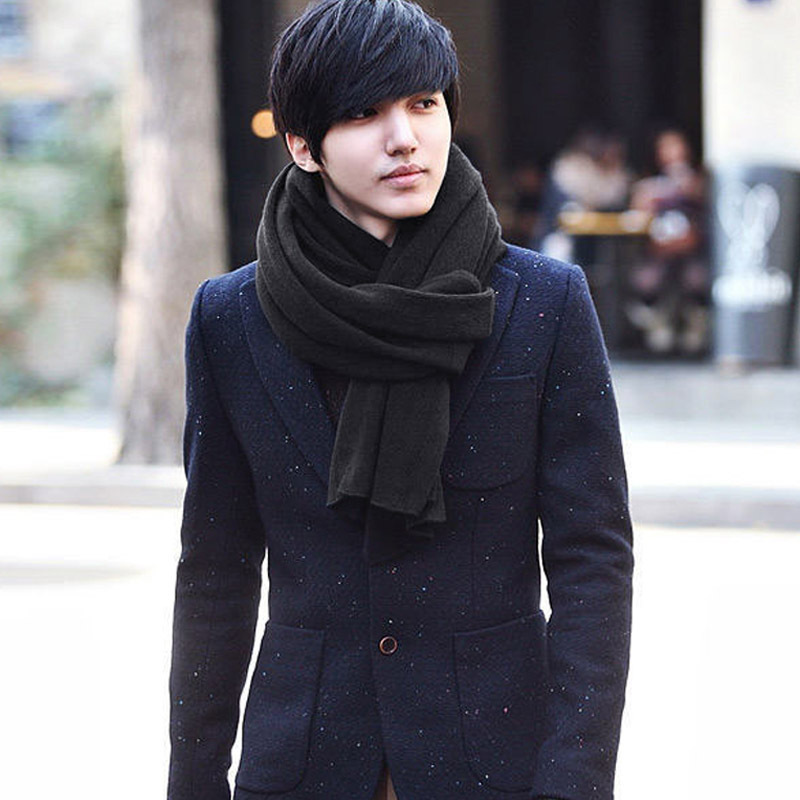 Ai Lan card wool scarves male Korean men's fall and winter warm solid color long scarf unisex scarves(China (Mainland))