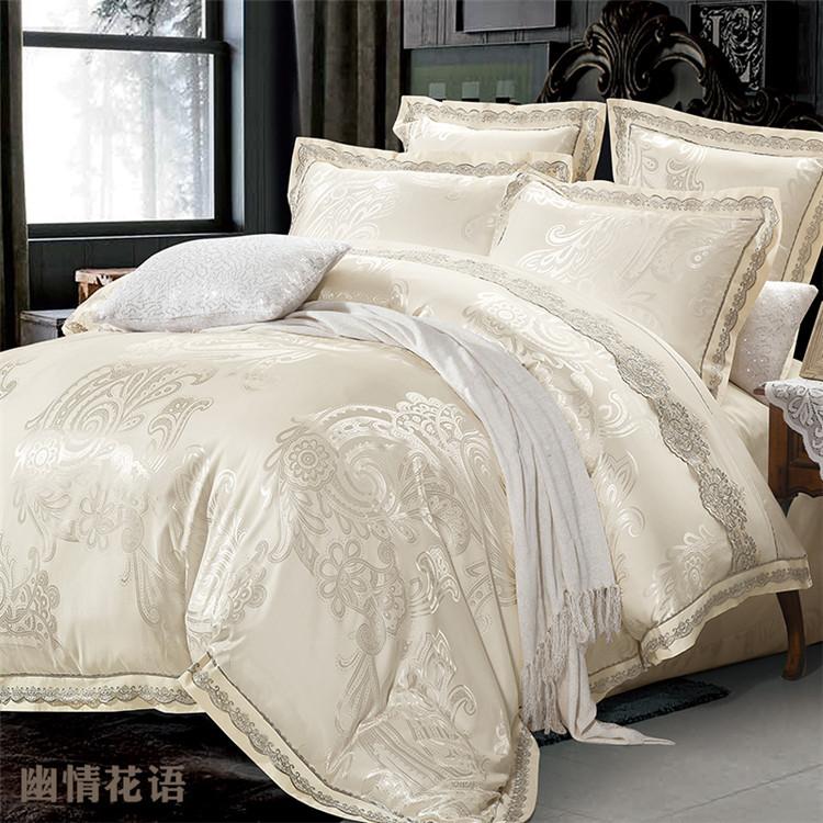 ... Aliexpresscom Buy Beige Jacquard Satin Silk Bedding Set For Silk Queen Bed  Sheets ...