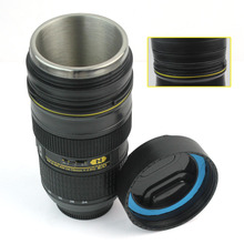 Camera Lens Cup Coffee Tea Mug Beer Cup Wine Cup Without Lid Black Plastic Cup With Stainless Steel Lining For Drinking(China (Mainland))
