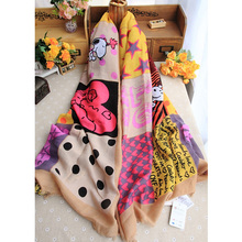 New Design Cartoon DOG Porcelain Bandanas Cotton Scarf Luxury Brand Scarf For Women Foulard Bandana Winter Poncho&Wrap 130*180cm(China (Mainland))