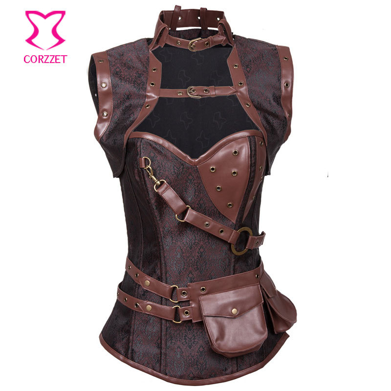 NEW 2015 Brown Steel Boned Waist Training Corsets and Bustiers Steampunk Corset Espartilho E Corpetes Gothique Korsett For Women(China (Mainland))