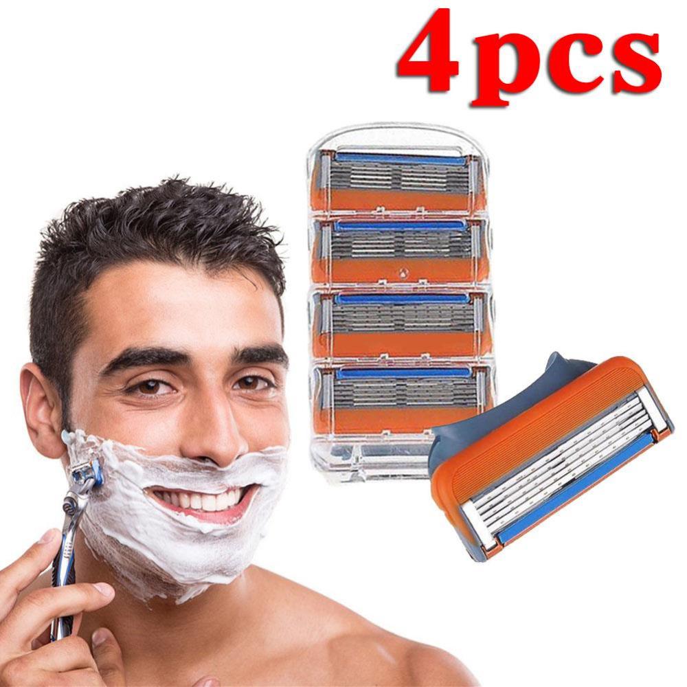 4 Pcs/Lot Essential Comfortable Men Razor Blades Shaver Head Sharp Beauty Tools Kits