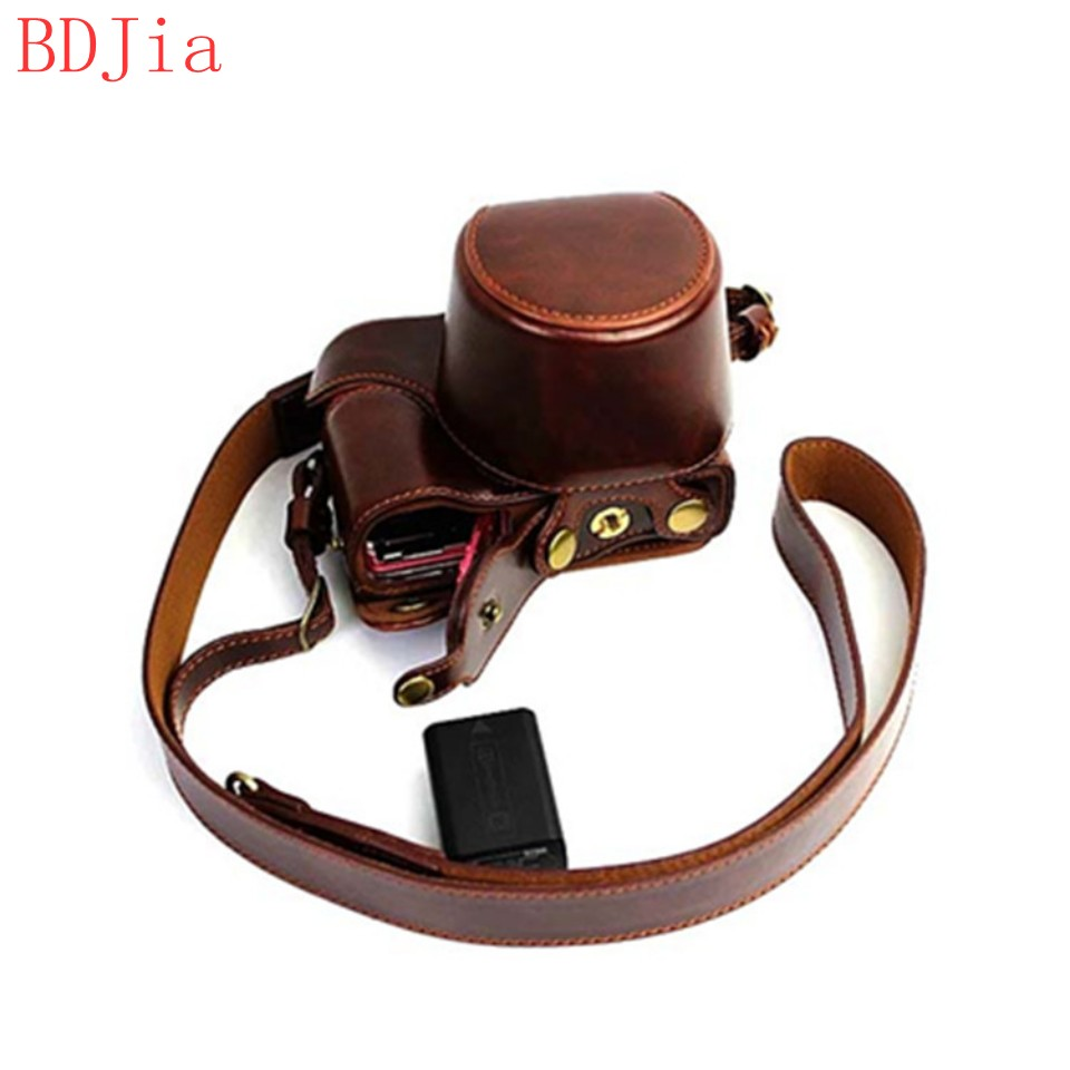 New Luxury Leather Camera Case For Sony A5100 A5000 (16-50mm Lens) Camera PU Leather Camera Bag Cover With Battery Opening+strap(China (Mainland))