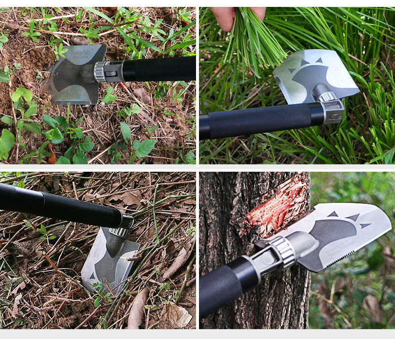 Buy Camping Steel Shovel with Slingshot hunting Outdoor hiking garden Shovel Survival Trowel Tools Pick Saw Hunting knife EDC tools cheap