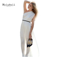 MolaBell Summer Fashion Sexy Women White One Shoulder Long Maxi Dress Casual Slim Backless Chiffon Dresses