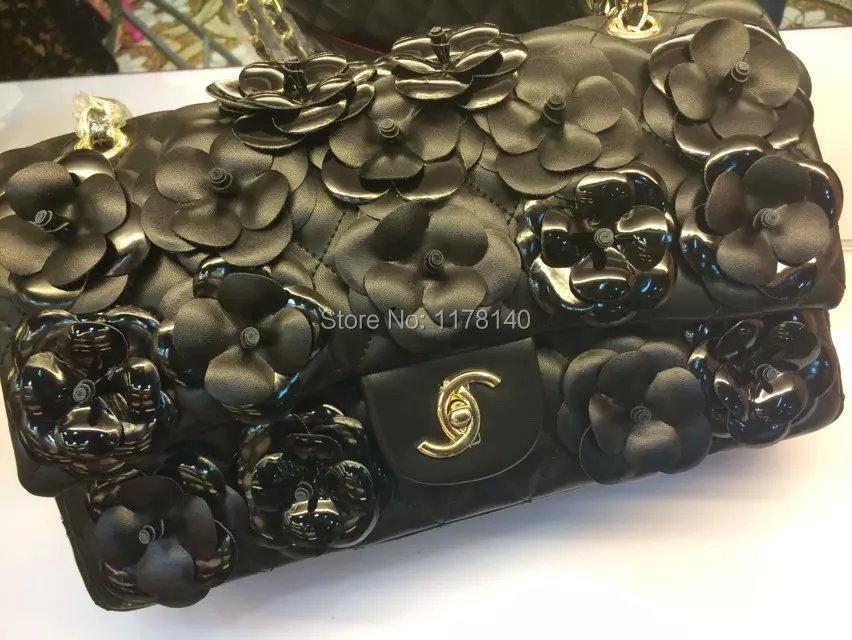 NEW Famous Designer Brand LOGO Handmade Camellia Pu Leather Flowers