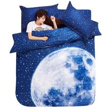Thick 3D bedding set King size beddings and bed sets duvet cover set with bed sheet bedclothes Moon Star Galaxy space nasa(China (Mainland))