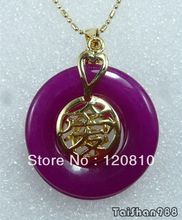 Purple Jade 18KGP Chinese Letter Love Luck Pendant & Necklace(China (Mainland))