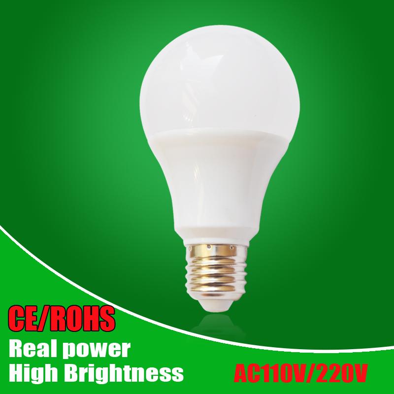 LED Lamp E27 LED Bulb Light B22 3W 5W 7W 9W 12W 15W 110v 220V Real Watt SMD2835 aluminum cooling High Bright Lampada LED lights(China (Mainland))