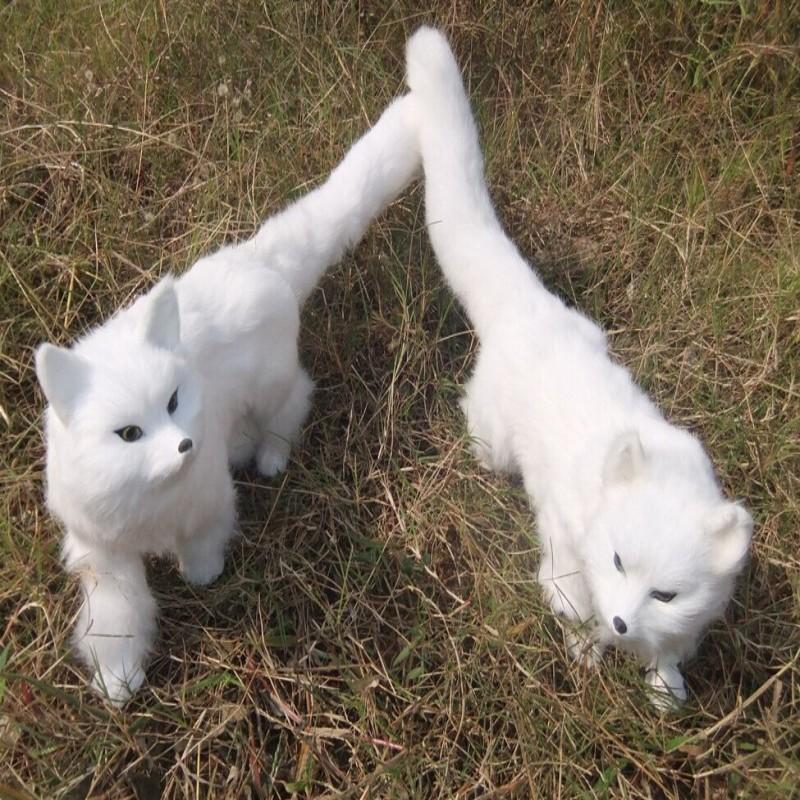 Фотография a pair of creative simulation fox toys white plastic&fur standing fox dolls gift about 55x23cm