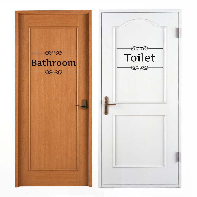 2 Sheets Black Pvc Bathroom Decor Toilet Door Guide Home Room Decal Diy Wall Stickers 28 9 14