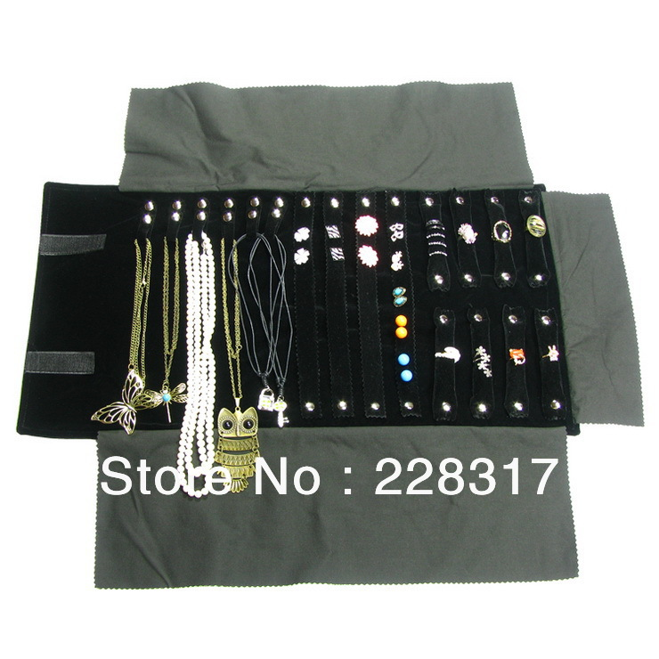 Velvet Multifunctional Foldable earrings storage bag necklace travel roll ring case jewelry - Sole Co. Ltd store