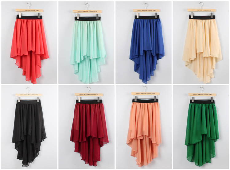 ! Candy Colour Fashion Summer Girls Short Front Long Back Asymmetrical Chiffon Skirt Casual Skirts - Romantic Life store