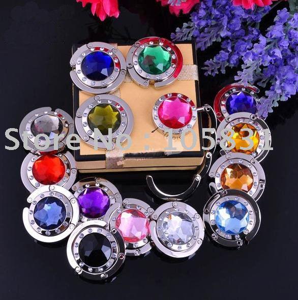 Free Shipping+Best selling! Mix 18 Colors Fashion Round foldable Bag Hanger / Purse Hook / Handbag Holder with Acrylic(China (Mainland))