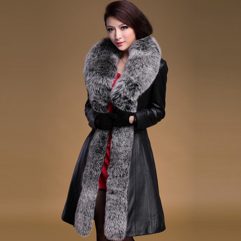 2013 new winter fashion women's fox fur collar Genuine natural sheep skin long jacket female leather coat - Shoes and clothes in the world store