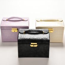 Three Layers Portable PU Leather Ladies Jewelry Box Organizer Carrying Cases White/Black/Purple with mirror 17.5*14.2CM 1PC(China (Mainland))
