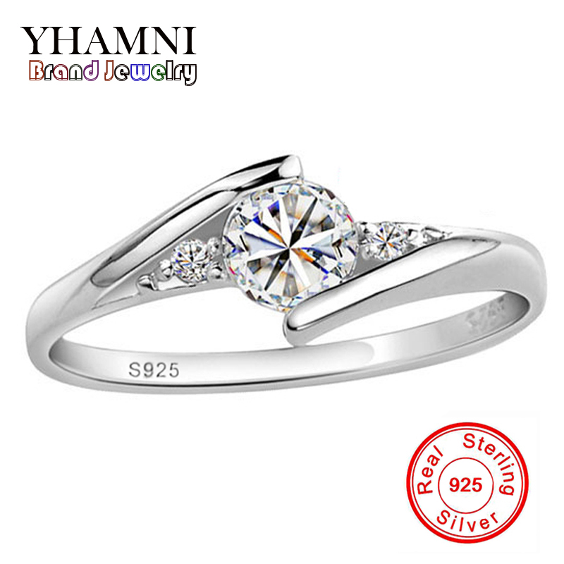 Send Silver Certificate Real 100% 925 Silver Ring 0.5 Carat CZ Diamond Wedding Rings For Women RING SIZE 4 5 6 7 8 9 10 YH500036(China (Mainland))