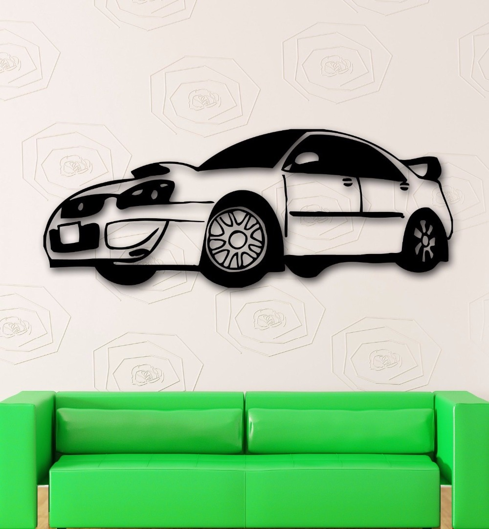 Racing car wall sticker race rally car mural art wall for Cars wall mural sticker
